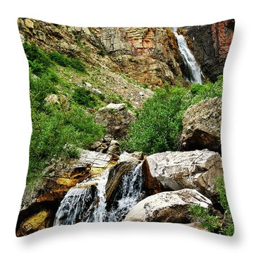 Apikuni Falls Throw Pillow by Greg Norrell
