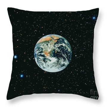 Apollo 17 View Of Earth With Starfield Throw Pillow by NASA / Science Source