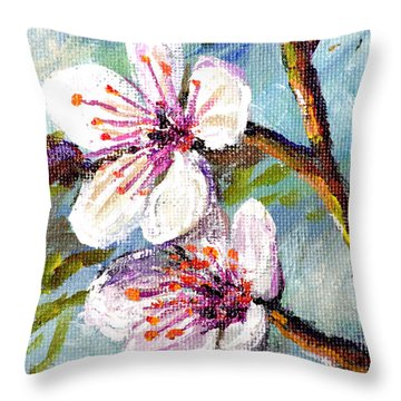 Throw Pillow featuring the painting Apple Blossoms by Lou Ann Bagnall