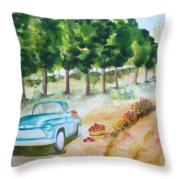 Apple Harvest Fun Throw Pillow