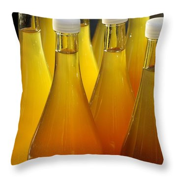 Apple Juice In Bottles Throw Pillow by Matthias Hauser