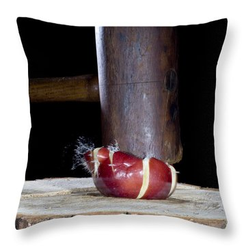 Apple Smashed With Mallet Throw Pillow by Ted Kinsman