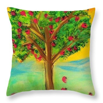 Apple Tree Throw Pillow by Kelly Turner
