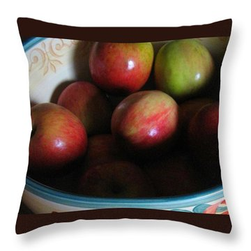 Apples In Ceramic Bowl Throw Pillow
