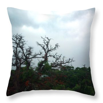 Throw Pillow featuring the photograph Approaching Storm Viewed Through My Rain Streaked Window by Lon Casler Bixby