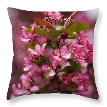 April Crabapple In Bloom Throw Pillow