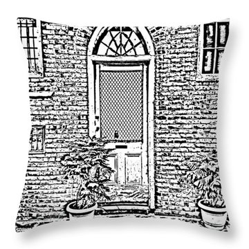 Arched Doorway French Quarter New Orleans Photocopy Digital Art Throw Pillow by Shawn O'Brien