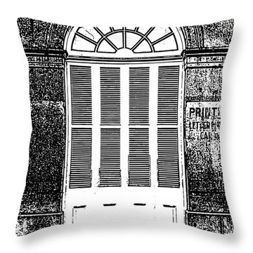 Arched White Shuttered Window French Quarter New Orleans Photocopy Digital Art  Throw Pillow by Shawn O'Brien