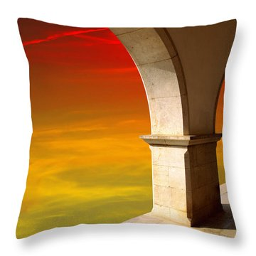 Arches At Sunset Throw Pillow by Carlos Caetano