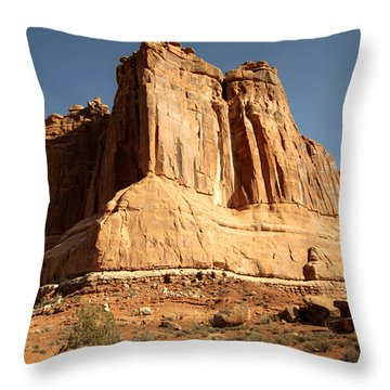Arches N P The Courthouse Towers View Throw Pillow by Paul Cannon
