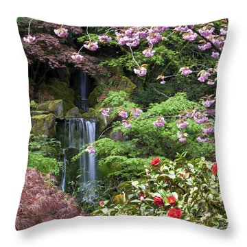 Arching Cherry Blossoms Throw Pillow