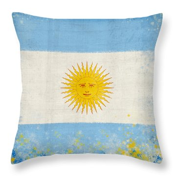 Argentina Flag Throw Pillow by Setsiri Silapasuwanchai