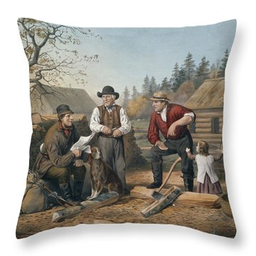 Arguing The Point Throw Pillow by Currier and Ives