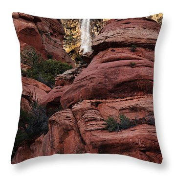 Throw Pillow featuring the photograph Arizona Red Rocks Waterfall by Karen Lee Ensley