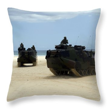 Armored Assault Vehicles Performing Throw Pillow by Stocktrek Images