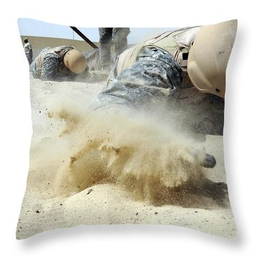 Army Soldier Pulls Himself Throw Pillow by Stocktrek Images