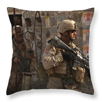Army Soldiers Keeping An Eye Throw Pillow by Stocktrek Images