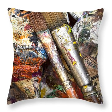 Art Is Messy 2 Throw Pillow by Carol Leigh