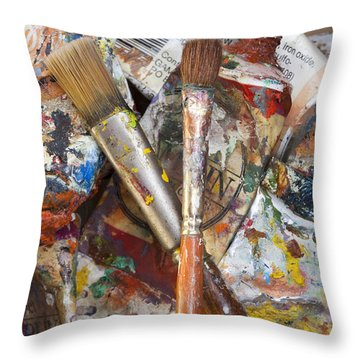 Art Is Messy 3 Throw Pillow by Carol Leigh