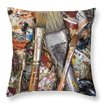 Art Is Messy 4 Throw Pillow by Carol Leigh