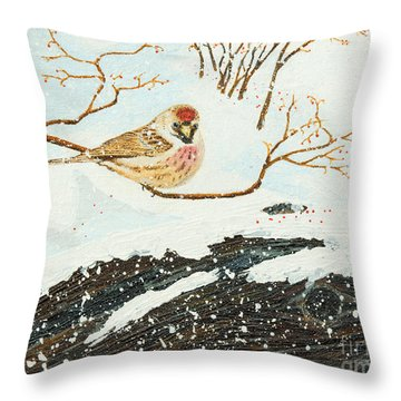 Artic Redpoll Throw Pillow