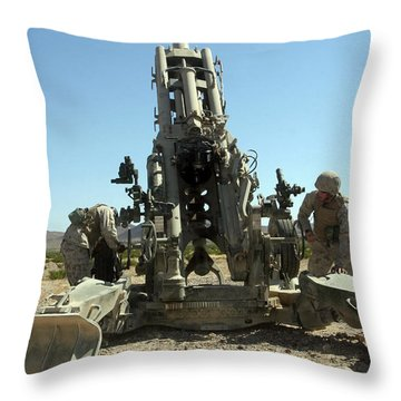 Artillerymen Manning The M777 Throw Pillow by Stocktrek Images