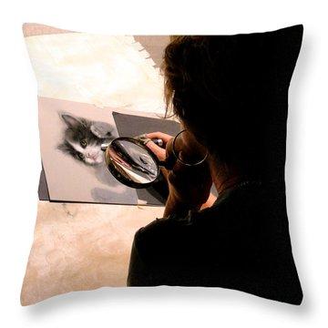 Artist At Work Throw Pillow by Al Bourassa
