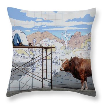 Artist At Work Throw Pillow by Bob Christopher