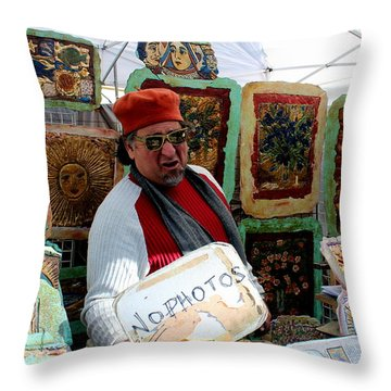 Throw Pillow featuring the photograph Artist At Work by Jo Sheehan