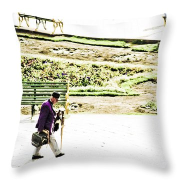 Artist In Purple Throw Pillow by Darcy Michaelchuk