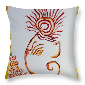 Throw Pillow featuring the painting Artistic Lord Ganesha by Sonali Gangane