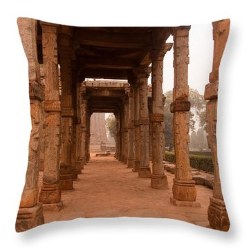 Artistic Pillars Are All That Remain Of This Old Monument Inside The Qutub Minar Complex Throw Pillow by Ashish Agarwal