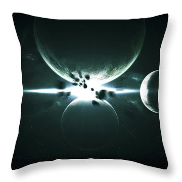 Artists Concept Of A Planet And Its 3 Throw Pillow by Kevin Lafin