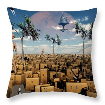 Artists Concept Of Aliens Visiting Throw Pillow by Mark Stevenson