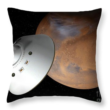 Artists Concept Of An Aeroshell-encased Throw Pillow by Stocktrek Images