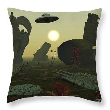 Artists Concept Of An Alien Scrap Yard Throw Pillow by Mark Stevenson