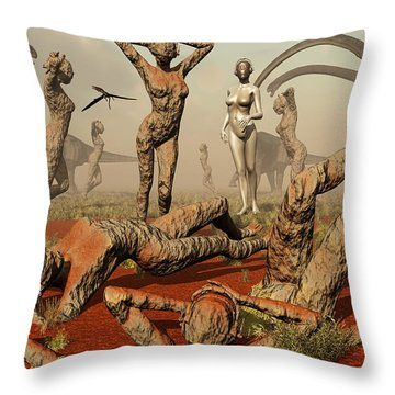 Artists Concept Of Mutated Dinosaurs Throw Pillow by Mark Stevenson