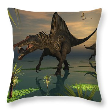 Artists Concept Of Spinosaurus Throw Pillow by Mark Stevenson