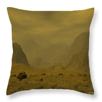 Artists Concept Of The Surface Of Venus Throw Pillow by Walter Myers