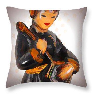 Asian Beauty Minstrel Throw Pillow by Kathy Clark