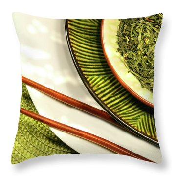 Asian Bowls Filled With Herbs Throw Pillow by Sandra Cunningham