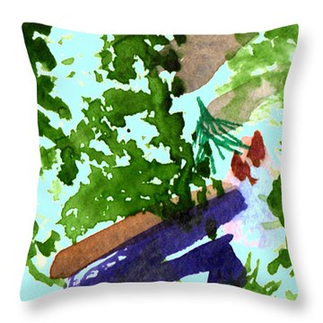 Throw Pillow featuring the painting Asian Garden  by Paula Ayers