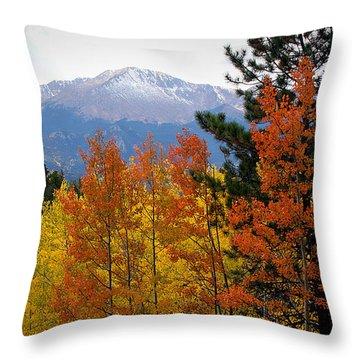 Aspen Grove And Pikes Peak Throw Pillow by Kimberlee Fiedler