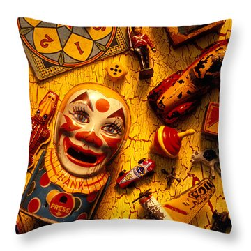Assorted Old Toys Throw Pillow by Garry Gay