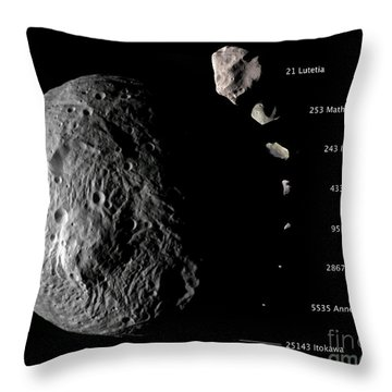 Asteroid Size Comparison With Vesta Throw Pillow by NASA/Science Source