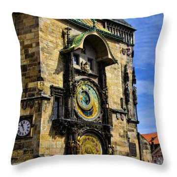 Astonomical Clock    Prague Old Town Throw Pillow by Jon Berghoff
