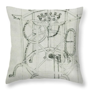 Astrarium Sketch By Giovanni De Dondi Throw Pillow by Science Source