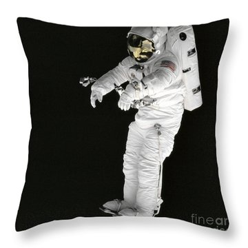 Astronaut Stands On A Portable Foot Throw Pillow by Stocktrek Images
