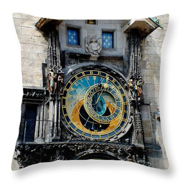 Astronomical Clock Throw Pillow by Pravine Chester