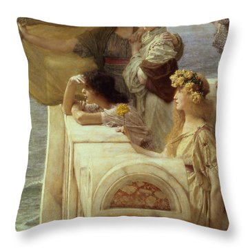 At Aphrodite's Cradle Throw Pillow by Sir Lawrence Alma-Tadema